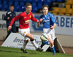 St Johnstone Academy v Manchester United Academy....17.04.15   <br /> Cameron Lumsden and Lewis Thompson<br /> Picture by Graeme Hart.<br /> Copyright Perthshire Picture Agency<br /> Tel: 01738 623350  Mobile: 07990 594431