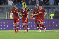 Bryan Cristante of AS Roma celebrates with Jordan Veretout after scoring the goal of 1-0 during the Serie A football match between AS Roma and US Sassuolo at Olimpico stadium in Rome (Italy), September 12th, 2021. Photo Antonietta Baldassarre / Insidefoto