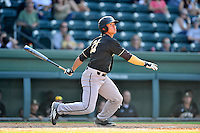 Right fielder Bradley McClain (21) of the Wofford Terriers in a SoCon Tournament game against Western Carolina on Wednesday, May 25, 2016, at Fluor Field at the West End in Greenville, South Carolina. Western won, 10-9. (Tom Priddy/Four Seam Images)