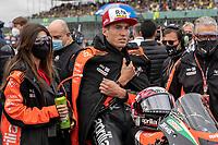 29th August 2021; Silverstone Circuit, Silverstone, Northamptonshire, England; MotoGP British Grand Prix, Race Day; A cold Aprilia Racing Team Gresini rider Aleix Espargaro on his Aprilia RS-GP on the grid