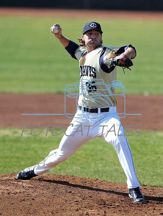 UC Davis' Evan Wolf pitches in a college baseball game between the Washington Huskies and the UC Davis Aggies in Davis, Ca., on Sunday, Feb. 17, 2013. Davis won 7-5 to finish their season opening series 3-1. .Photo by Cathleen Allison