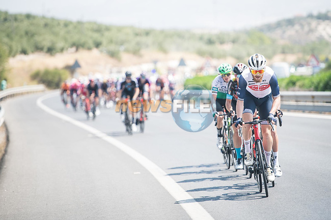 Quinn Simmons (USA) Trek-Segafredo tries to breakaway during Stage 12 of La Vuelta d'Espana 2021, running 175km from Jaén to Córdoba, Spain. 26th August 2021. <br /> Picture: Unipublic/Charly Lopez | Cyclefile<br /> <br /> All photos usage must carry mandatory copyright credit (© Cyclefile | Charly Lopez/Unipublic)