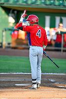 Keith Grieshaber (4) of the Orem Owlz at bat against the Ogden Raptors in Pioneer League action at Lindquist Field on July 29, 2016 in Ogden, Utah. Orem defeated Ogden 8-5. (Stephen Smith/Four Seam Images)