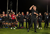 Crusaders coach Scott Robertson breakdances after winning the 2021 Super Rugby Aotearoa final between the Crusaders and Chiefs at Orangetheory Stadium in Christchurch, New Zealand on Saturday, 8 May 2021. Photo: Joe Johnson / lintottphoto.co.nz