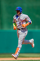 5 April 2018: New York Mets outfielder Yoenis Cespedes rounds the bases after hitting a solo home run to lead off the 4th inning against the Washington Nationals during the Nationals' Home Opener at Nationals Park in Washington, DC. The Mets defeated the Nationals 8-2 in the first game of their 3-game series. Mandatory Credit: Ed Wolfstein Photo *** RAW (NEF) Image File Available ***