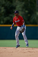 GCL Twins shortstop Jesus Feliz (1) during a Gulf Coast League game against the GCL Pirates on August 6, 2019 at Pirate City in Bradenton, Florida.  GCL Twins defeated the GCL Pirates 4-2 in the first game of a doubleheader.  (Mike Janes/Four Seam Images)