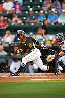 Bradenton Marauders second baseman Pablo Reyes (15) at bat during a game against the Lakeland Flying Tigers on April 16, 2016 at McKechnie Field in Bradenton, Florida.  Lakeland defeated Bradenton 7-4.  (Mike Janes/Four Seam Images)