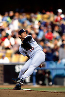 Hideo Nomo of the Los Angeles Dodgers participates in a Major League Baseball game at Dodger Stadium during the 1998 season in Los Angeles, California. (Larry Goren/Four Seam Images)