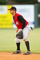 Kannapolis Intimidators second baseman Joey DeMichele (17) on defense against the Rome Braves at CMC-Northeast Stadium on August 5, 2012 in Kannapolis, North Carolina.  The Intimidators defeated the Braves 9-1.  (Brian Westerholt/Four Seam Images)