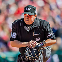 5 April 2018: MLB Umpire Doug Eddings works behind the plate during a game between the Washington Nationals and the New York Mets at Nationals Park in Washington, DC. The Mets defeated the Nationals 8-2 in the first game of their 3-game series. Mandatory Credit: Ed Wolfstein Photo *** RAW (NEF) Image File Available ***