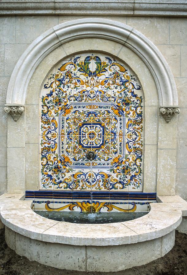 San Francisco, California, USA. Spanish-tiled Fountain in the Marina District.