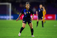 ORLANDO CITY, FL - FEBRUARY 24: Sophia Smith #17 of the USWNT waits for the ball during a game between Argentina and USWNT at Exploria Stadium on February 24, 2021 in Orlando City, Florida.