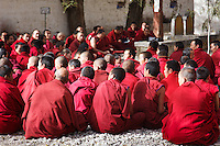 A gthering of buddhist monks at Sera Monastary. Lhasa, Tibet.
