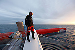 Thomas Coville onboard Sodebo around Brittany, France.