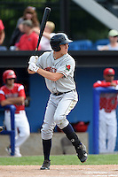 Connecticut Tigers outfielder Ben Verlander (22) at bat during the second game of a doubleheader against the Batavia Muckdogs on July 20, 2014 at Dwyer Stadium in Batavia, New York.  Connecticut defeated Batavia 2-0.  (Mike Janes/Four Seam Images)