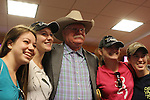 September 20, 2014:  Scenes from Pennsylvania Derby Day at Parx Racing in Bensalem, PA. Steve Coburn signs autographs for and poses for photos with California Chrome fans. Joan Fairman Kanes/ESW/CSM