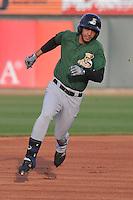 Clinton LumberKings Luis Liberato (2) runs to third base during the game against the Cedar Rapids Kernels at Veterans Memorial Stadium on April 15, 2016 in Cedar Rapids, Iowa.  Clinton won 11-5.  (Dennis Hubbard/Four Seam Images)
