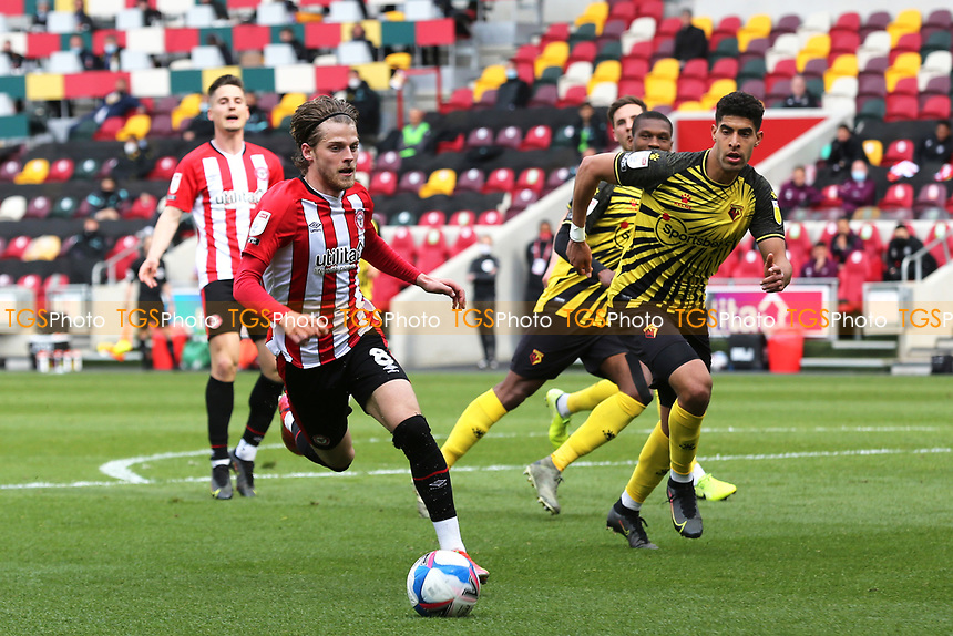 Mathias Jensen of Brentford in action during Brentford vs Watford, Sky Bet EFL Championship Football at the Brentford Community Stadium on 1st May 2021