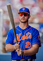 7 March 2019: New York Mets top prospect first baseman Pete Alonso in the dugout during a Spring Training Game against the Washington Nationals at the Ballpark of the Palm Beaches in West Palm Beach, Florida. The Nationals defeated the visiting Mets 6-4 in Grapefruit League, pre-season play. Mandatory Credit: Ed Wolfstein Photo *** RAW (NEF) Image File Available ***