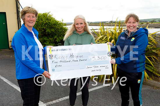 Michelle Greaney presenting a cheque in Blennerville on Tuesday evening, for €5,300.00 to the Kerry Hospice from her recent fundraiser Gemma O'Shea Virtual Memorial Run which took place on the Easter weekend. L to r: Maura O'Sullivan, Michelle Greaney and Andrea O'Donoghue.