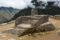 Peru, Machu Picchu.  The Intiwatana, Hitching Post of the Sun.