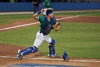 Florida Gulf Coast Eagles catcher Johnny Long (24) throws down to second base during an NCAA game against the Miami Hurricanes on March 17, 2021 at Swanson Stadium in Fort Myers, Florida.  (Mike Janes/Four Seam Images)