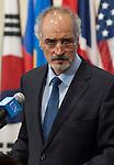 Bashar Ja'afari, Permanent Representative of the Syrian Arab Republic to the UN, speaks to press