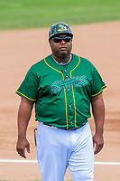 Beloit Snappers manager Webster Garrison (41) coaches third base during a Midwest League game against the Quad Cities River Bandits on June 18, 2017 at Pohlman Field in Beloit, Wisconsin.  Quad Cities defeated Beloit 5-3. (Brad Krause/Four Seam Images)