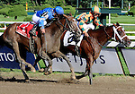 16 August 2008: Proud Spell (2) digs deep and holds off the late-charging Music Note in the Alabama Stakes at Saratoga Race Course in Saratoga Springs, New York.  Proud Spell turned the tables on 2-5 favorite Music Note (1) to win the 128th running of the race.