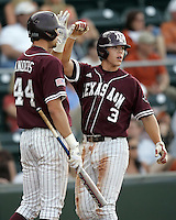 Texas A&M 2B Blake Stouffer scores against Texas on May 16th, 2008 in Austin Texas. Photo by Andrew Woolley / Four Seam images..