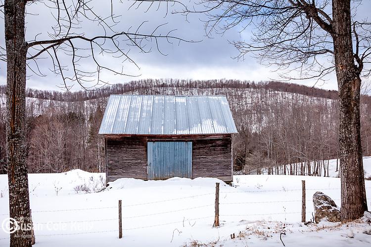 A gray barn in Pomfret, near Woodstock, VT, USA