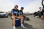 Sky Procycling team riders Ian Stannard and Jeremy Hunt (GBR) chill out before the start of Stage 4 of the 2012 Tour of Qatar from Al Thakhira to Madinat Al Shamal, Qatar. 8th February 2012.<br /> (Photo Eoin Clarke/Newsfile)