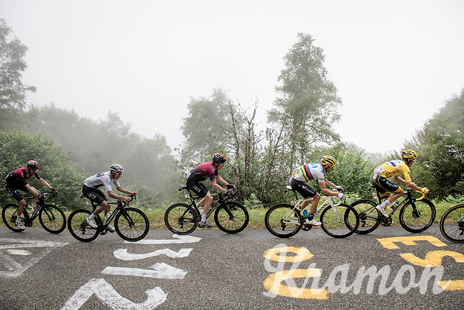 GC contenders following eachother closely up the very steep section (+16%) of the Mur de Péguère (Cat1/1375m/9.3km/7.9%): yellow jersey / GC leader Julian Alaphilippe (FRA/Deceuninck - QuickStep), World Champion Alejandro Valverde (ESP/Movistar), defending Tour champion Geraint Thomas (GBR/Ineos) & white jersey / best young rider Egan Bernal (COL/Ineos)<br /> <br /> Stage 15: Limoux to Foix(185km)<br /> 106th Tour de France 2019 (2.UWT)<br /> <br /> ©kramon