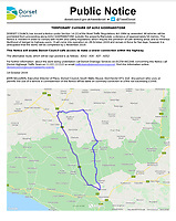 BNPS.co.uk (01202 558833)<br /> Pic: DorsetCouncil/BNPS<br /> <br /> The public notice issued by Dorset Council warning of a fine.<br /> <br /> Motorists have hit out at a 'crazy' local council after it announced a 41 mile diversion around a 65ft stretch of roadworks.<br /> <br /> A small section of the A352 in Godmanstone, Dorset will be closed between Monday and Friday next week for work on a sewage system.<br /> <br /> Just over 65ft of the carriageway will be closed off by workmen but Dorset County Council have given an official diversion measuring an incredible 41 miles.