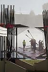 Rowing, Fog, Coach and Rowers, Launching racing shells; 2010 FISA World Rowing Championships; Lake Karapiro; Hamilton; New Zealand; November 4, 2010;