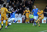 Motherwell v St Johnstone...28.01.12  .Henrik Ojamaa scores his second goal.Picture by Graeme Hart..Copyright Perthshire Picture Agency.Tel: 01738 623350  Mobile: 07990 594431