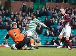 Celtic's Ibrahim Rabiu fails to take the ball past Arbroath keeper Scott Morrison