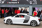 Real Madrid player Cristiano Ronaldo participates and receives new Audi during the presentation of Real Madrid's new cars made by Audi at the Jarama racetrack on November 8, 2012 in Madrid, Spain.(ALTERPHOTOS/Harry S. Stamper)