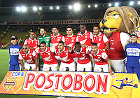 BOGOTA -COLOMBIA, 30- OCTUBRE-2014. Formacion  del Independiente  Santa Fe que vencio al Atletico Junior un gol por cero y se clasifico a la final de La Copa Postobon 2014. Estadio  Nemesio Camacho El Campin   / Team of  Independiente Santa Fe defeated  to Atletico Junior a goal to zero and classify the final of the Copa Postobon 2014. Estadio Nemesio Camacho El Campin. Photo: VizzorImage / Felipe Caicedo / Staff