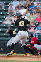 Michael Suchy (13) of the West Virginia Power at bat against the Hickory Crawdads at L.P. Frans Stadium on August 15, 2015 in Hickory, North Carolina.  The Power defeated the Crawdads 9-0.  (Brian Westerholt/Four Seam Images)