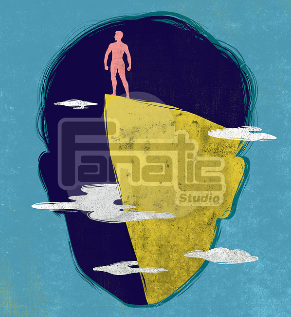 Illustrative of face with man standing on rock representing winner