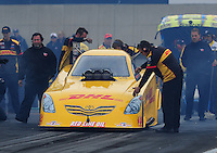 Oct. 2, 2011; Mohnton, PA, USA: NHRA crew members for funny car driver Jeff Arend during the Auto Plus Nationals at Maple Grove Raceway. Mandatory Credit: Mark J. Rebilas-
