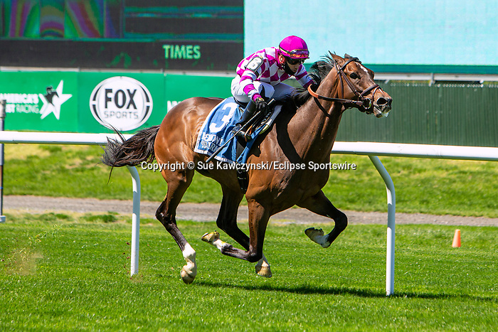 MAY 01, 2021 : Tribhuvan (FR) with Eric Cancel aboard, wins the Gr. 2 Fort Marcy  Stakes, at 1 1/8 mile on the turf, at Belmont Park, Elmont, NY. Sue Kawczynski-Eclipse Sportswire-CSM