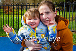 Little Thomas Duggan with Louise O'Sullivan enjoying the playground in the Tralee town park on Sunday.