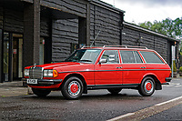 A Mercedes W123 series 230TE estate version, outside the Penderyn Whisky Distillery in south Wales, UK. Tuesday 19 June 2018