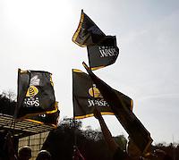 Photo: Richard Lane/Richard Lane Photography. Aviva Premiership. London Wasps v Saracens. 29/03/2014. Wasps flags.