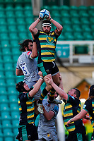 13th March 2021; Franklin's Gardens, Northampton, East Midlands, England; Premiership Rugby Union, Northampton Saints versus Sale Sharks; Tom Wood of Northampton Saints takes a line out