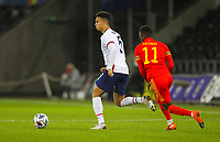 12th November 2020; Liberty Stadium, Swansea, Glamorgan, Wales; International Football Friendly; Wales versus United States of America; Antonee Robinson of USA controls the ball under pressure from Rabbi Matondo of Wales