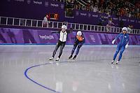 OLYMPIC GAMES: PYEONGCHANG: 24-02-2018, Gangneung Oval, Long Track, Mass Start Ladies, Nana Takagi (JPN), Irene Schouten (NED), Kim Bo-Reum (KOR), ©photo Martin de Jong
