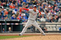 11 April 2012: Washington Nationals pitcher Sean Burnett on the mound against the New York Mets at Citi Field in Flushing, New York. The Nationals shut out the Mets 4-0 to take the rubber match of their 3-game series. Mandatory Credit: Ed Wolfstein Photo